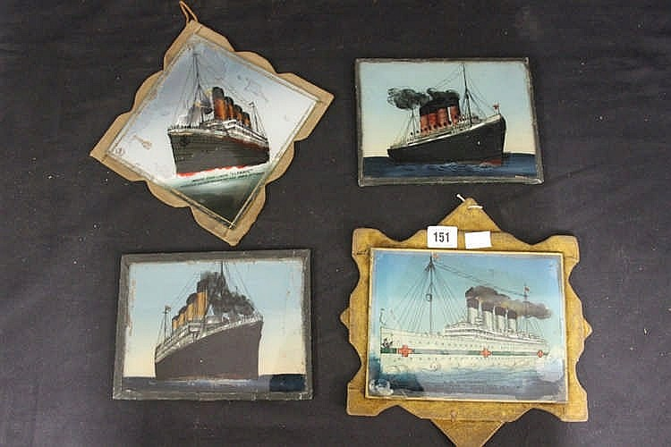 OCEAN LINERS: Commemorative reverse paintings on glass of the Lus