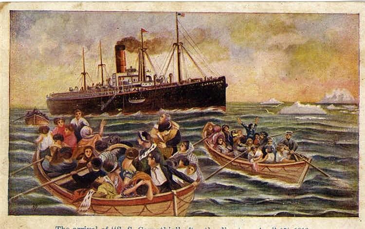 R.M.S. TITANIC: Carpathia postcard 'Rescuing survivors from Titan