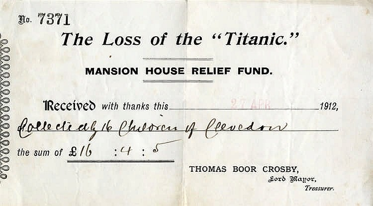 R.M.S. TITANIC: The Loss of the Titanic Mansion House relief fund