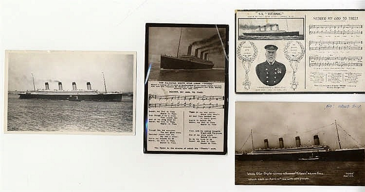R.M.S. OLYMPIC: Postcard, bow view of Olympic in new graving dock