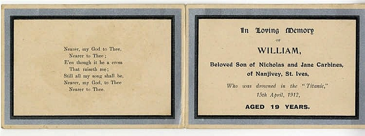 R.M.S. TITANIC: In memoriam card issued post-sinking of R.M.S. Ti