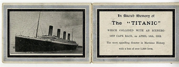 R.M.S. TITANIC: In memoriam card issued after the sinking of Tita