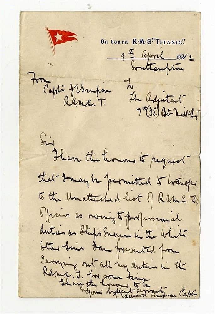 **R.M.S. TITANIC: Exceptional letter written onboard by Dr. John