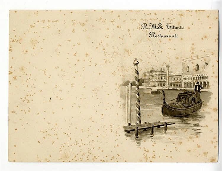 R.M.S. TITANIC - EXTREMELY RARE TITANIC MENU COVER: An original m