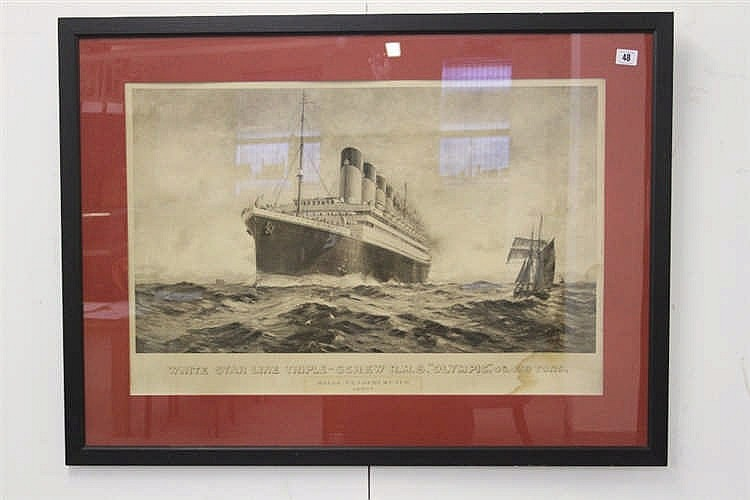 R.M.S. Olympic: Roger Vandercruyce sepia agency print of Olympic