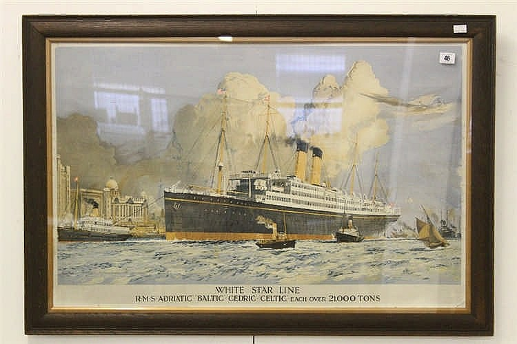 WHITE STAR LINE: Charles Dixon coloured agent's print of R.M.S. A
