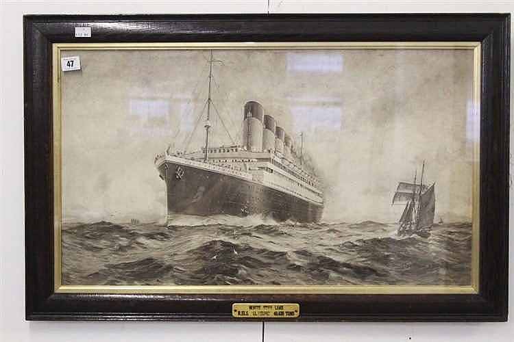 R.M.S. OLYMPIC: Montague Black sepia agency print in contemporary