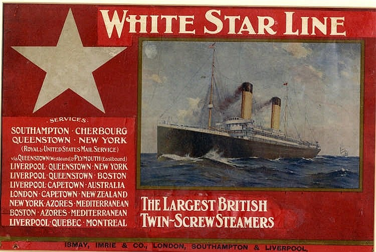 WHITE STAR LINE: Agent's proof for The Largest British Twin Screw