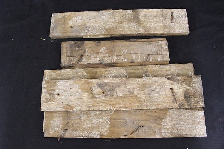 R.M.S. OLYMPIC: Pitch pine decking sections. 3ins. x 15ins. Ex. H