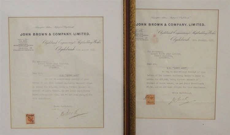 R.M.S. QUEEN MARY: Unusual pair of builders receipts on John Brow