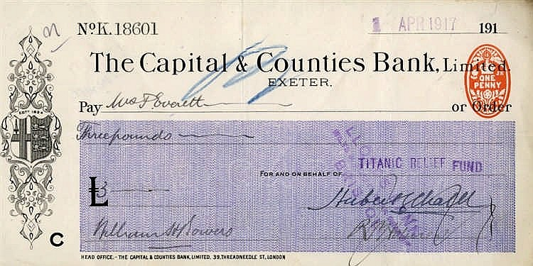 R.M.S. TITANIC: Relief fund cheque to Mrs F. Everett, wife of Thi