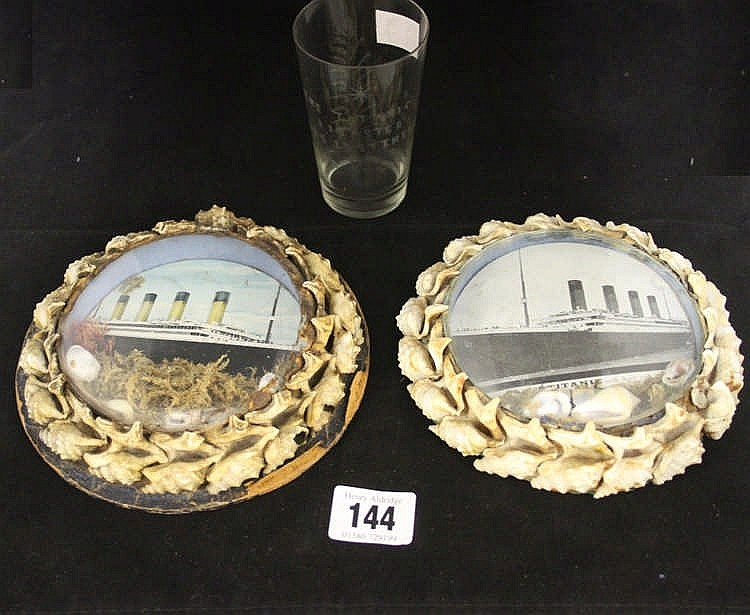 R.M.S. TITANIC: Post-disaster commemorative shells and beaker. (3