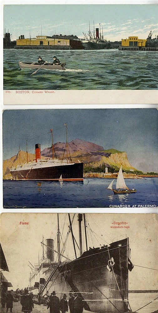 R.M.S. TITANIC: Original Carpathia postcards, one photographic an