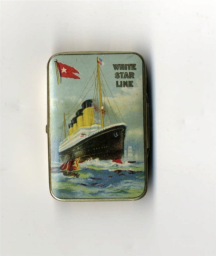 R.M.S. OLYMPIC: Cadbury's Bournville match striker tin with image