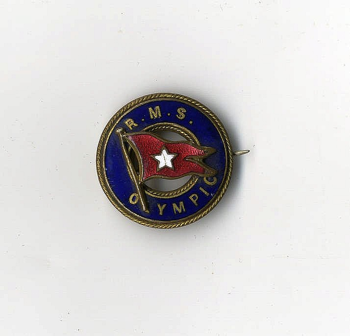 WHITE STAR LINE: R.M.S. Olympic pin badge in the shape of a life-