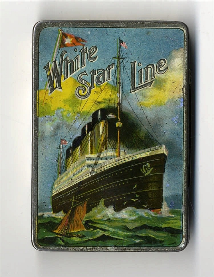R.M.S. OLYMPIC/BRITANNIC: W. Ariel Gray cigarette tin with a depi