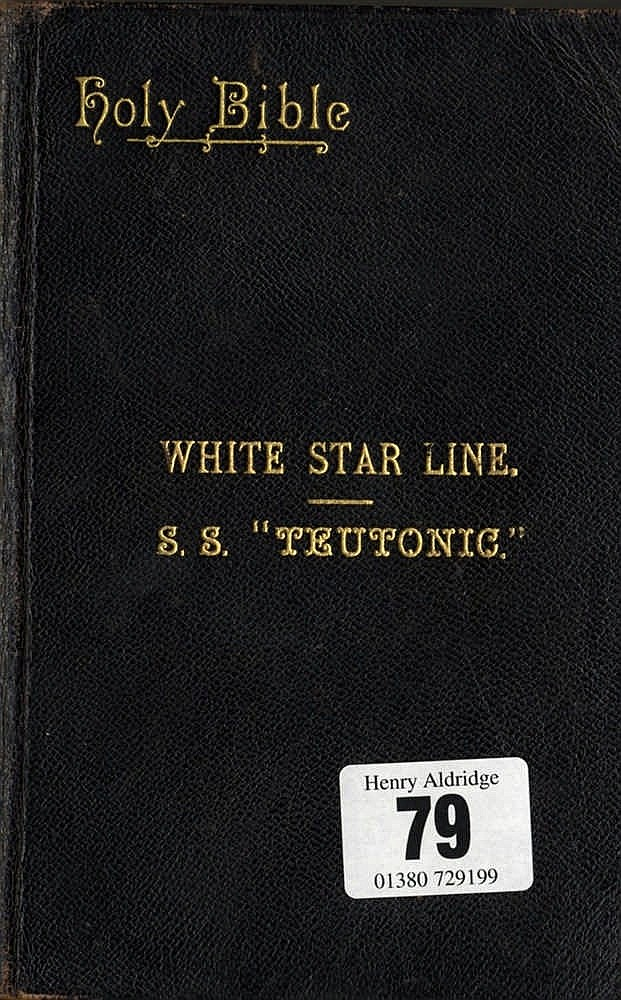 WHITE STAR LINE: Holy Bible with gilt lettering to cover White St