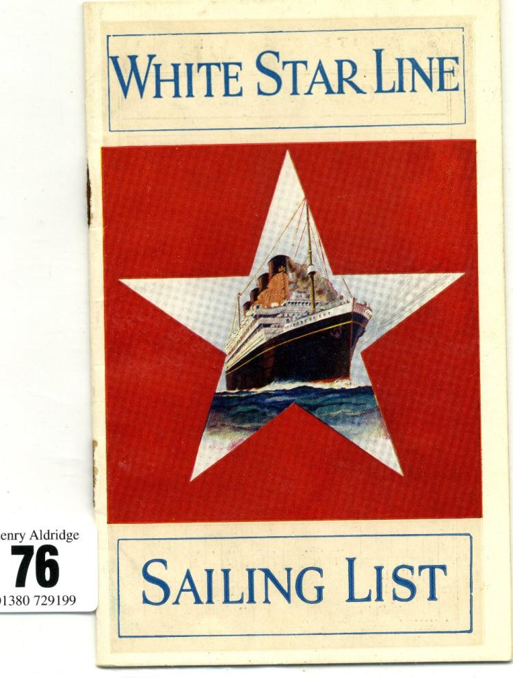 WHITE STAR LINE SAILING LISTS