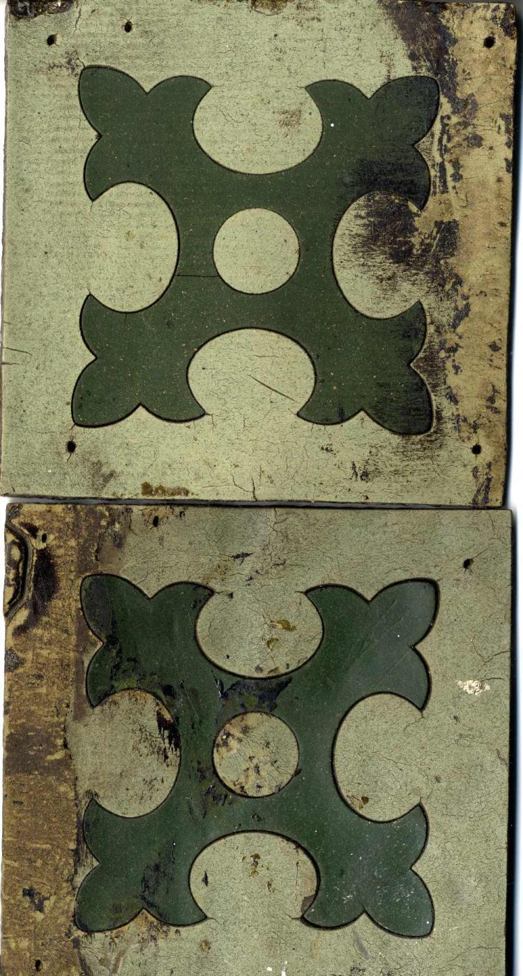 R.M.S. OLYMPIC: Linoleum floor tiles - a pair, Ex. Haltwhistle Factory. 6ins. x 6ins.