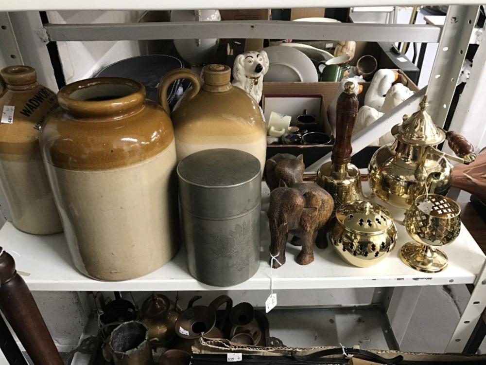 Treen and Brassware: Two hard wood elephants 5¼ins, brass hand bell, teapot, brandy balloon, candles