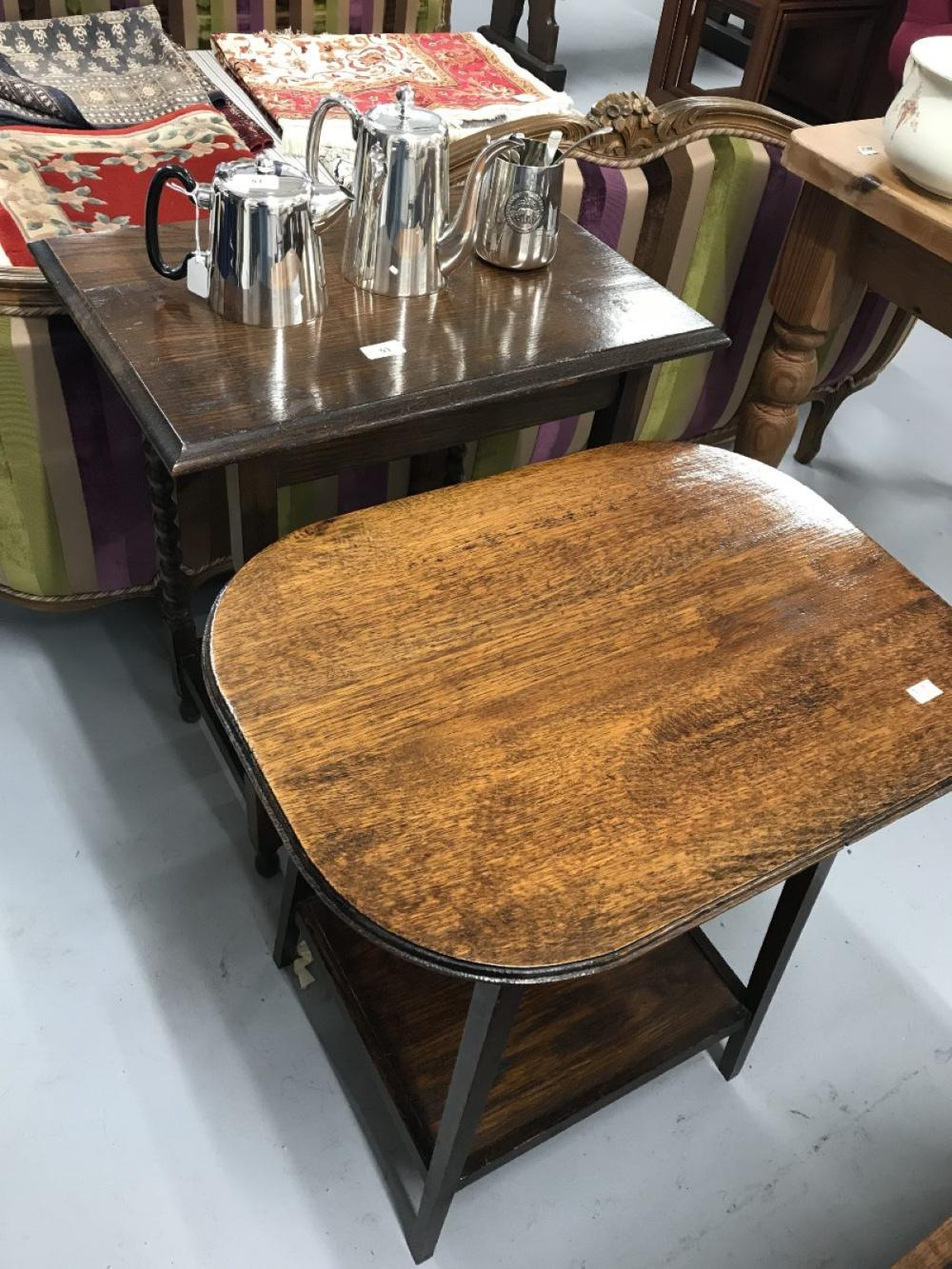 20th cent. Two oak side tables. Oblong 23ins. x 16ins. x 29ins. Oval 24ins. x 17ins. x 26ins.