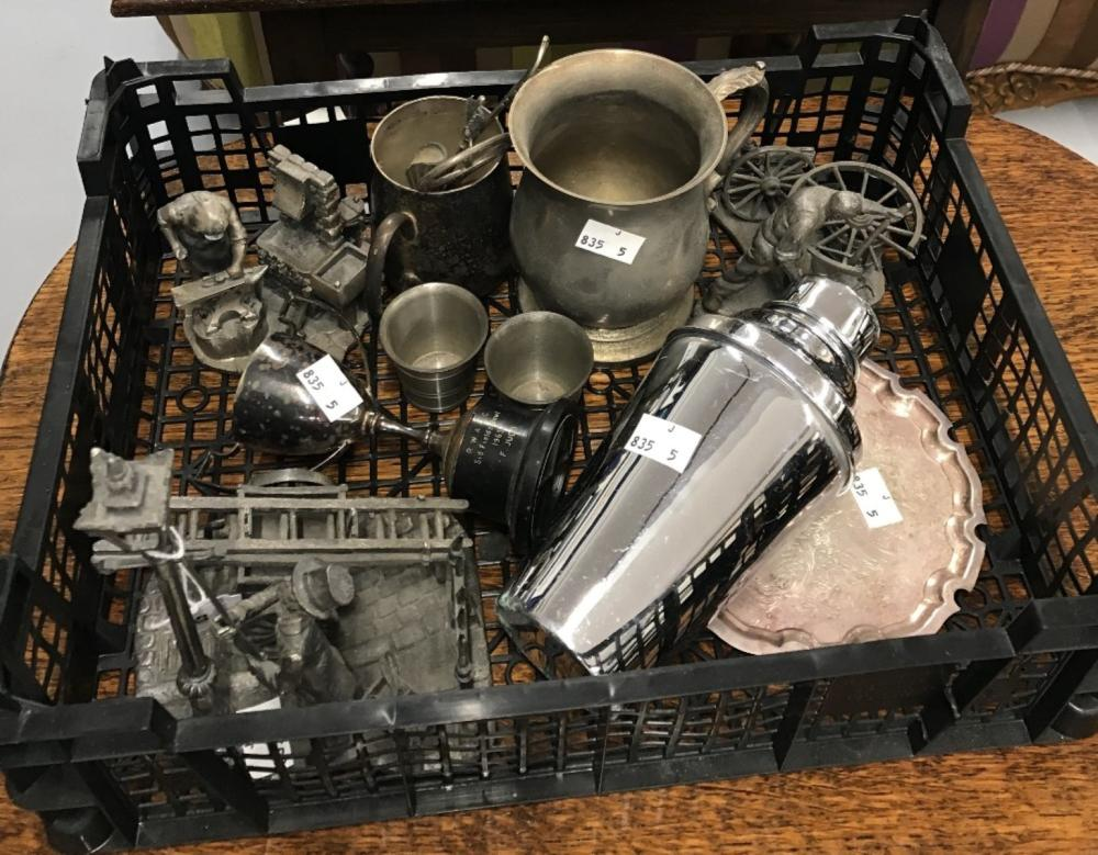 20th cent. Metalware: Pewter and plated ware. pewter figurines, lamplighter, farrier and wheelwright
