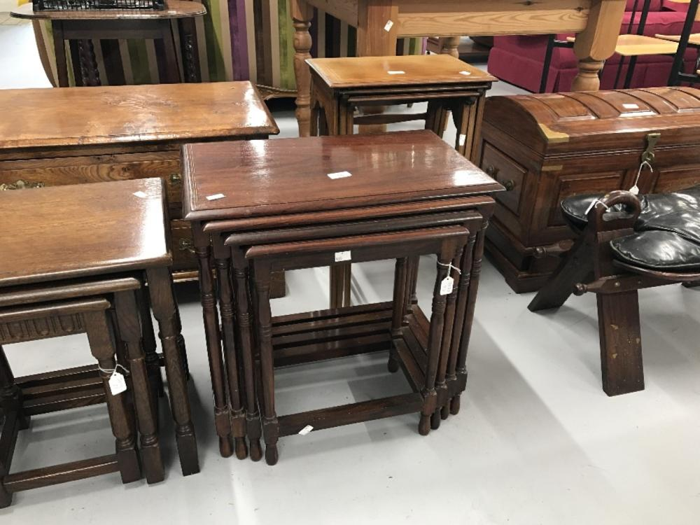 20th cent. Mahogany nest of 4 tables with brass inlay. 21ins. x 13ins. x 21ins.