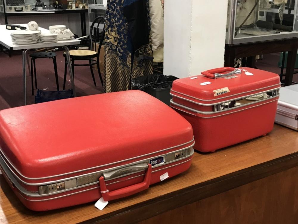 Retro luggage: Samsonite circa 1970, red fully fitted, with handles and keys, fitted vanity case wit