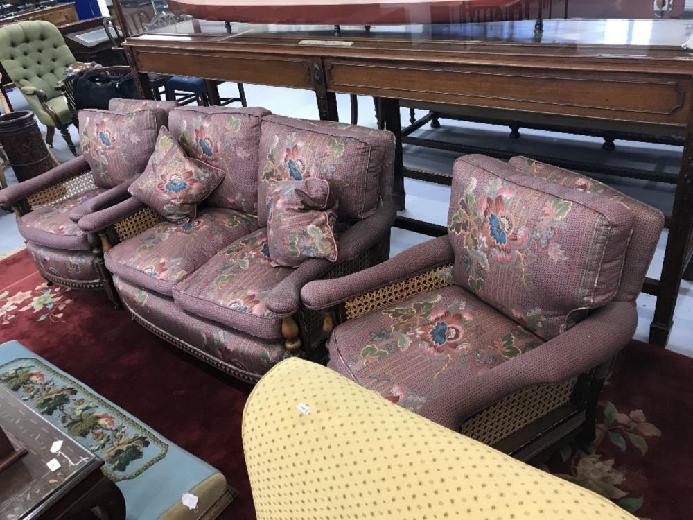 Mid 20th cent. Two seater purple floral salon settee and 2 matching armchairs. Beech frames and berg