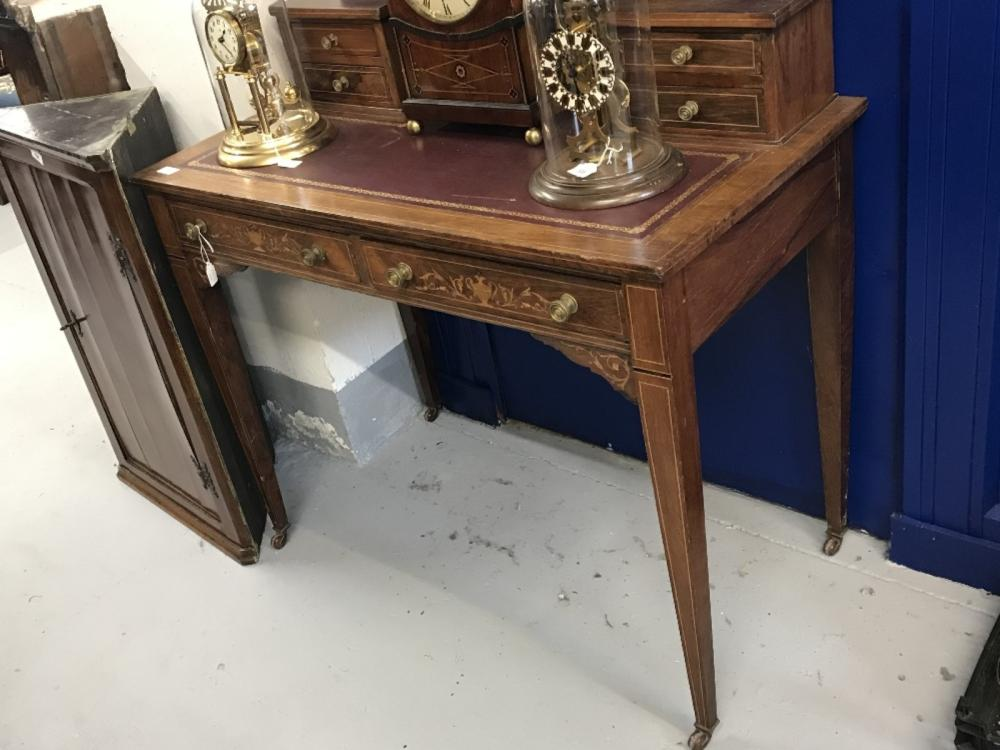 Edwardian rosewood ladies desk, 6 (4 small & 2 large) drawers inlaid fronts, on inlaid, squared tape