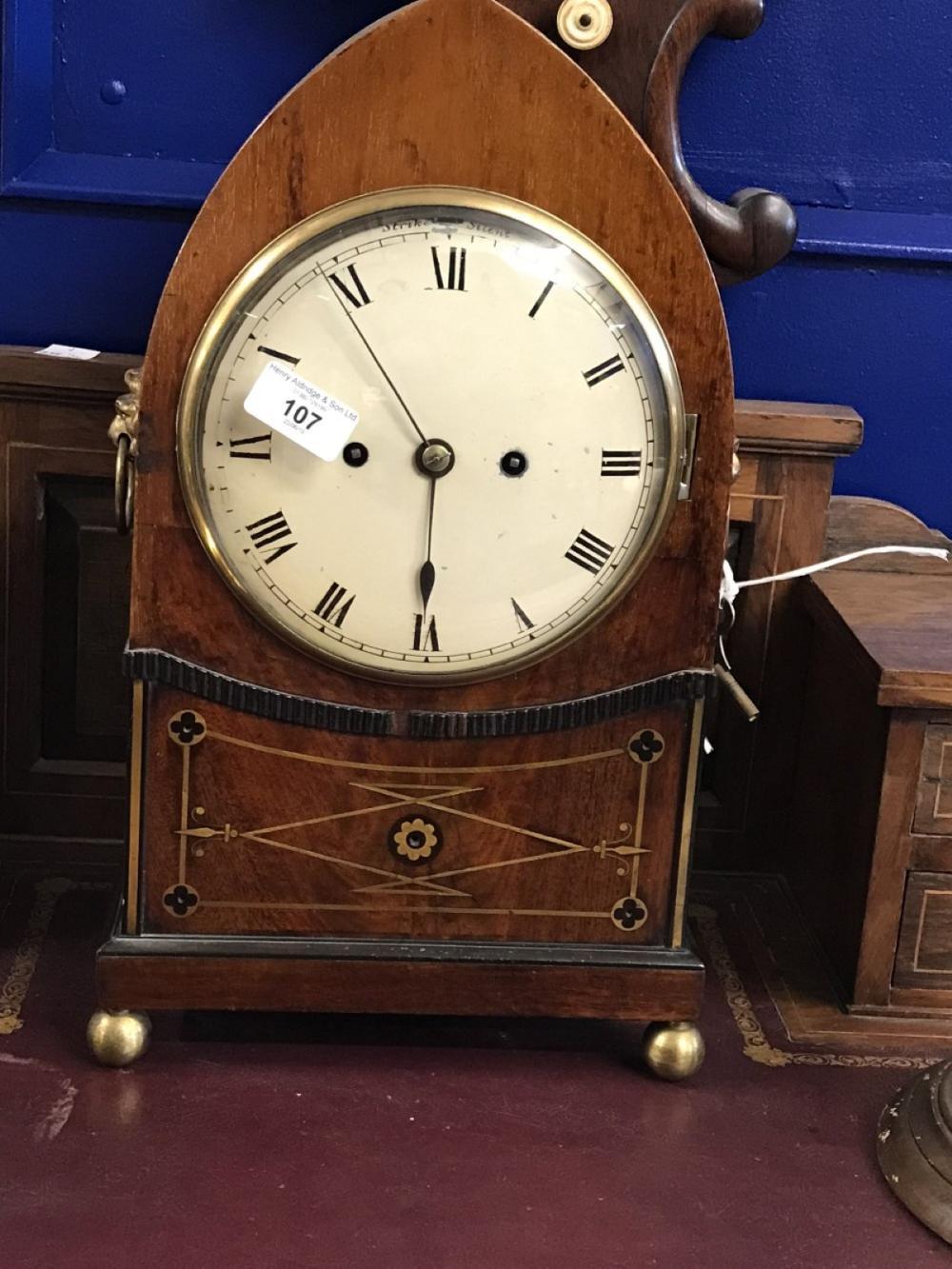 Clock: 19th cent. Mahogany Gothic Arch bracket clock, signed Debois and Wheeler, Grays Inn Passage t