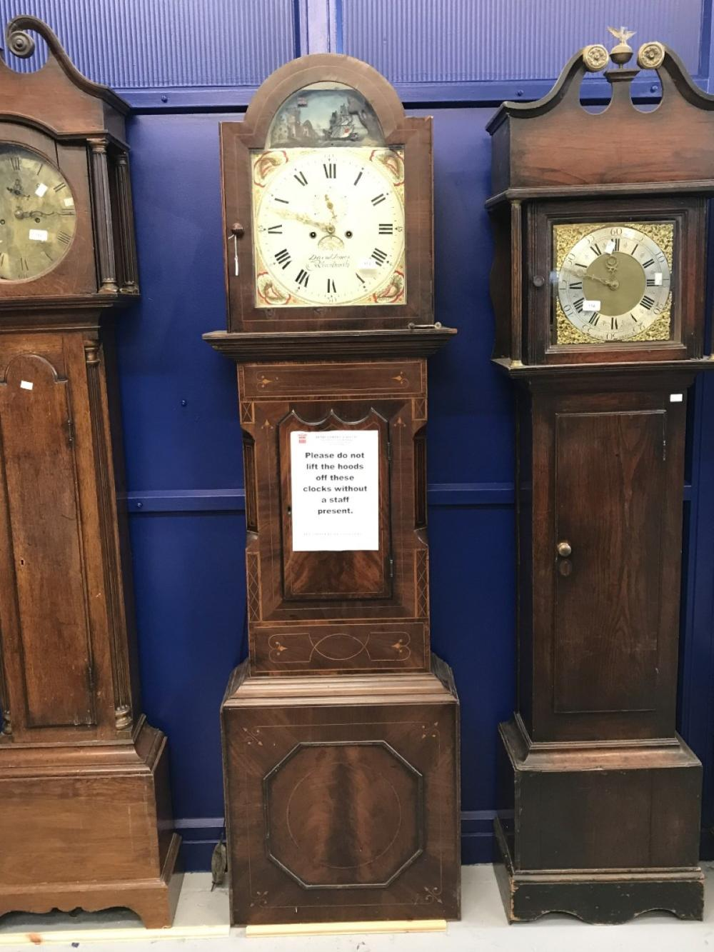 Clock: 19th cent. Mahogany and inlay longcase clock, arch dial, painted shell spandrel, moving dome