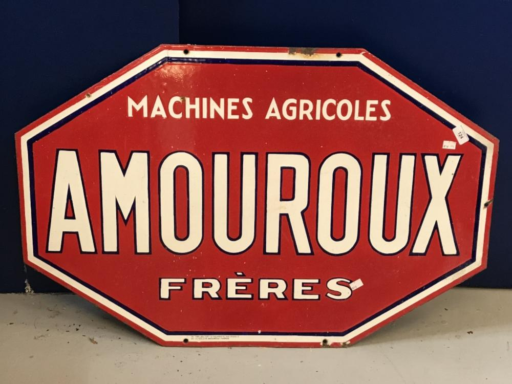 Automobilia: Early 20th cent. Enamel Amouroux Freres red and white double sided sign. 38ins. x 25ins