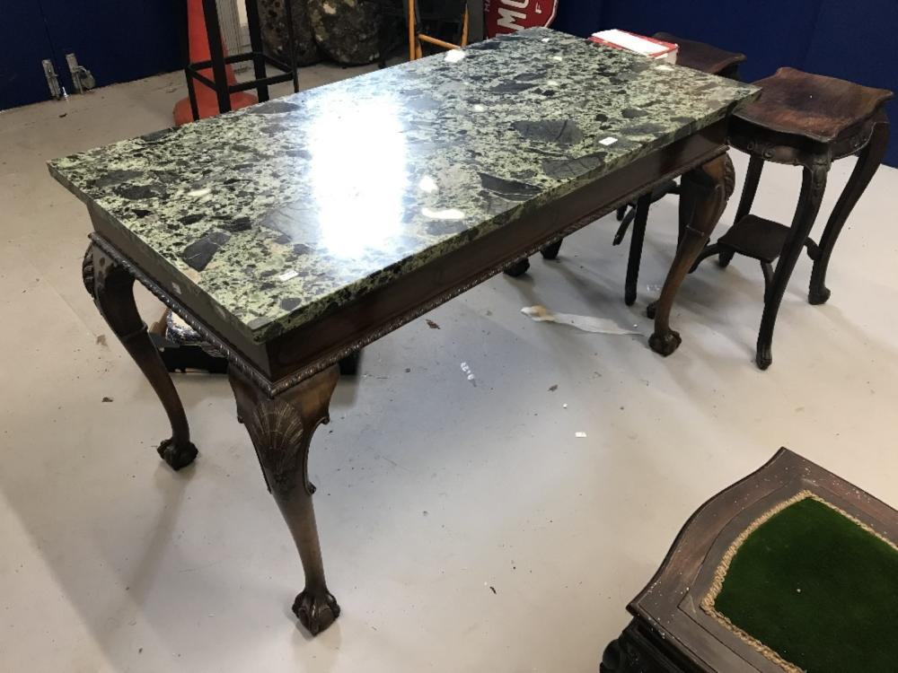 19th cent. Mahogany console table decorated frieze, green & black marble top on cabriole supports wi