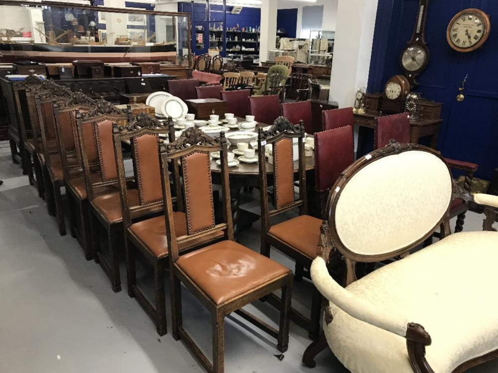Early 20th cent. Oak, Gothic revival dining chairs, brown rexine back panels and seats x 8.