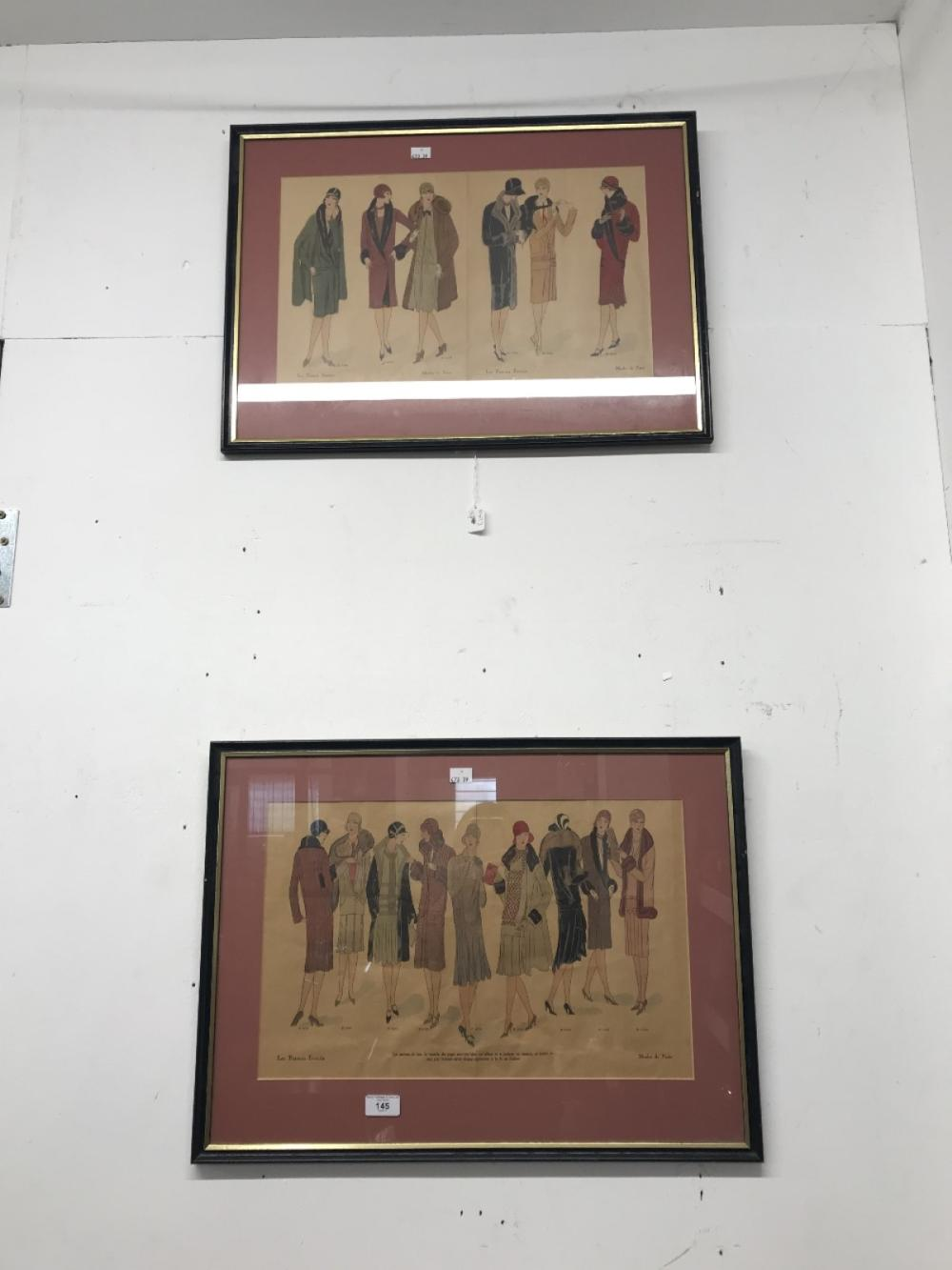 Prints: Colour fashion of Paris plates in the 1920s pages from a catalogue. Both framed and glazed.