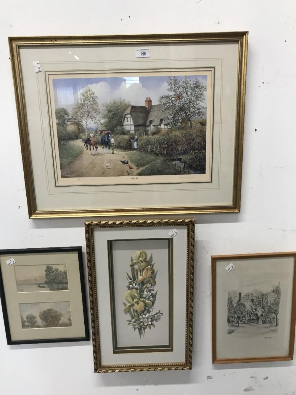 English School: 20th cent. Watercolours & ink, plus a study of orchids & daisies in relief. A limite