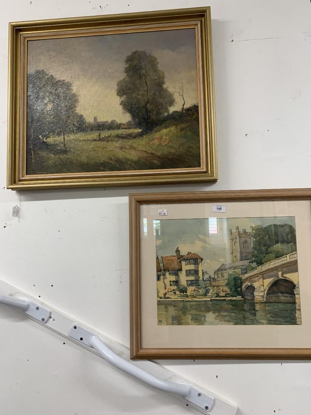 """Hugh Hamlet Oil on board """"A Glimpse of Framlingham Church"""" Suffolk. Framed 21½ins. x 17½ins. Plus Ma"""