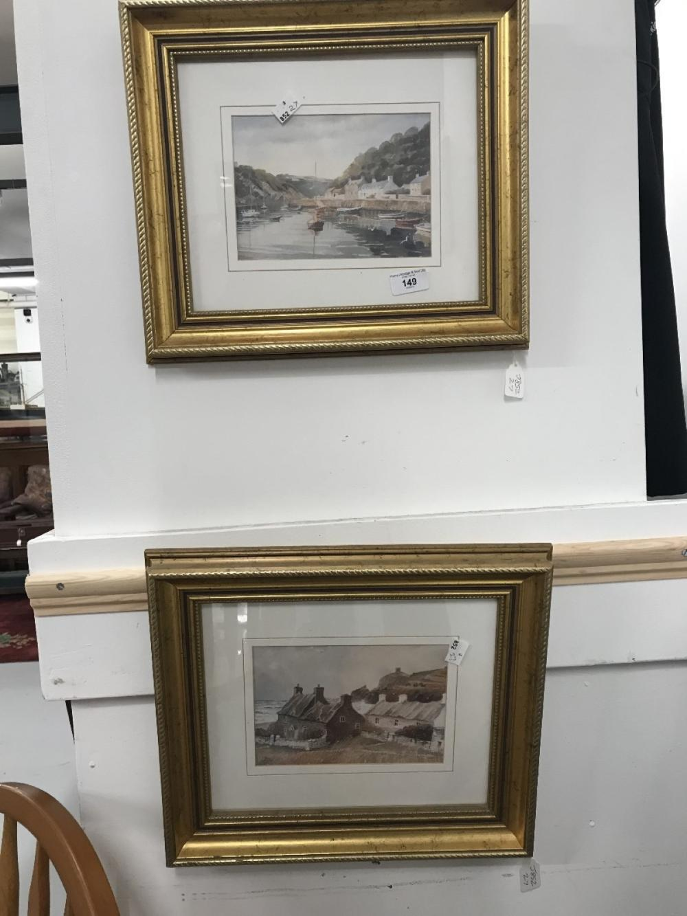 Prints: Alun Davies 1997 watercolour Lower Town, Fishguard. Gilt framed and glazed 13½ins. x 9½ins.