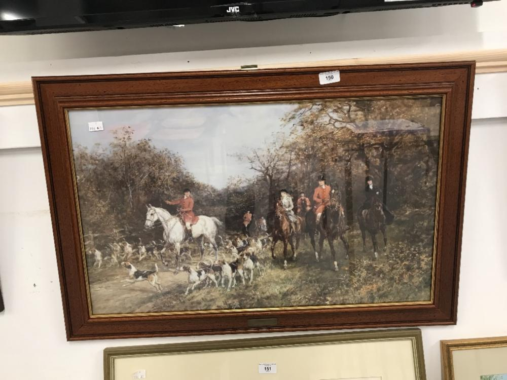 Prints: Hunting study with horses and hounds. 27½ins. x 16½ins. Plus two rural studies, farming in t