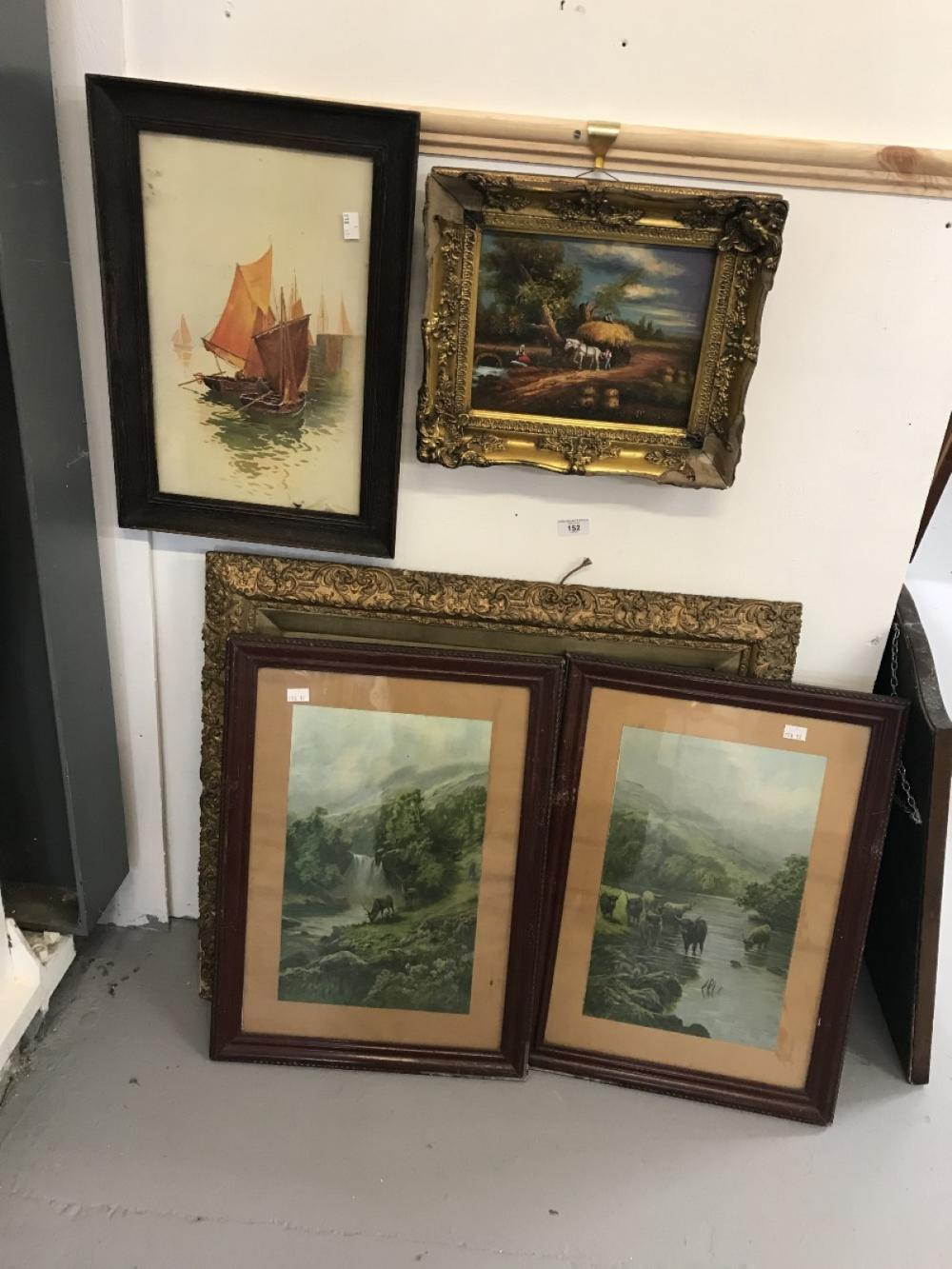 Watercolours - Prints: 20th cent. including  Sunset over wetlands, stags in a highland scene, cattle