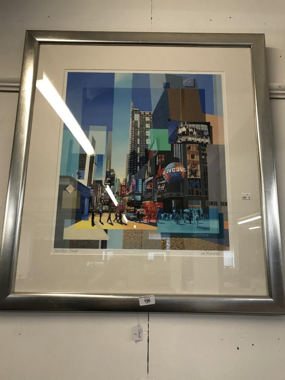 Les Matthews: 20th cent. Artists proof, limited edition print on paper of Times Square New York. Fra
