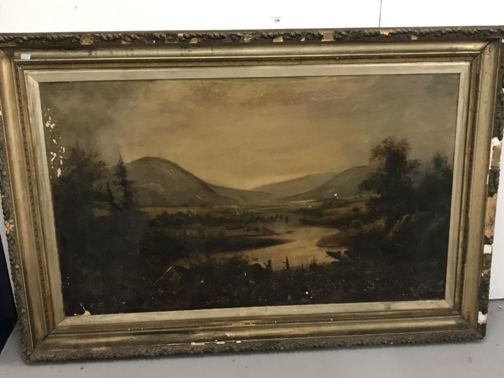 19th cent. Primitive American School: Oil on canvas, possibly of the Hudson river, signed P. (Peter?