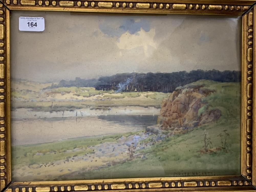 """Parker Hagarty watercolour """"By the River Ogmore"""", heavy gilt frame, glazed 14½ins. x 10½ins."""