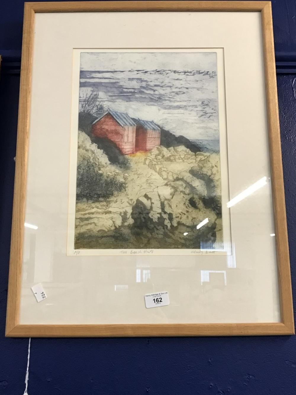 Wendy Batt print multiple, coloured 'The Beach Huts' A.P. signed lower right. 14ins. x 11ins. Framed