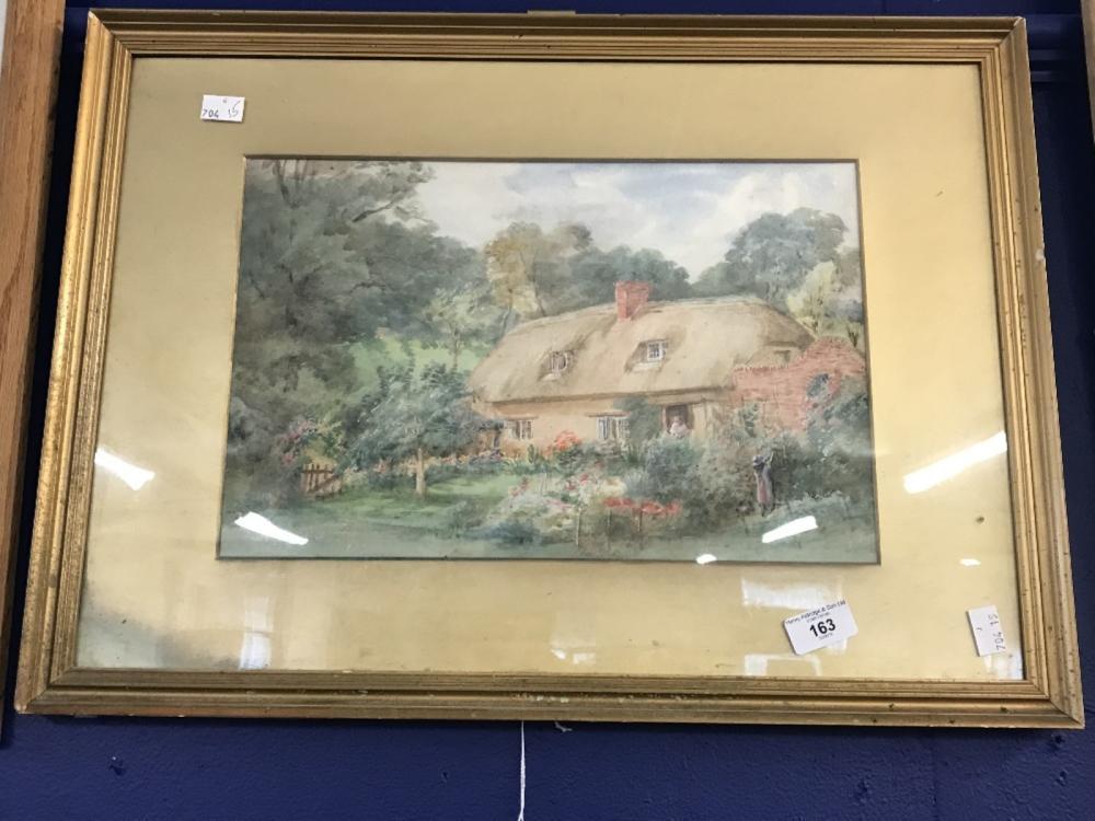 English School: Watercolour, idyllic cottage rural study. Indistinct signature lower left, dated 192
