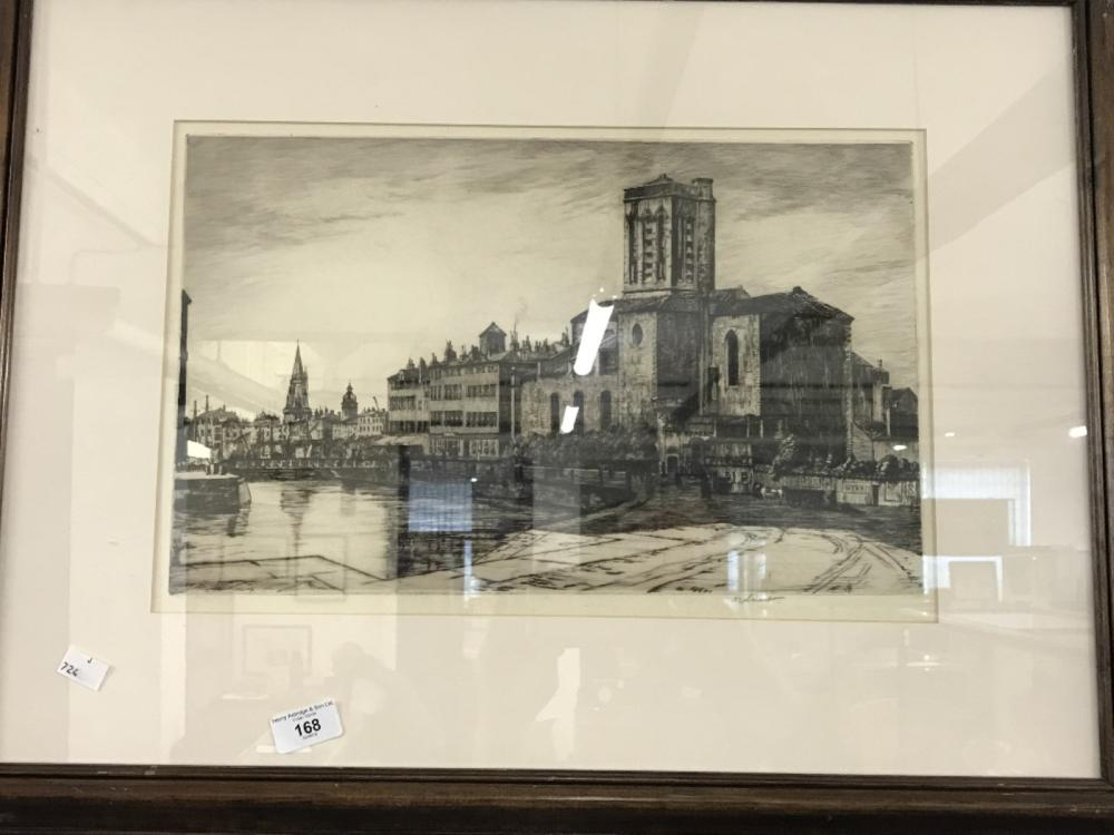 19th cent. Robert Smart (1881 - 1947) Etching dockside with building and figures. Signed in margin.