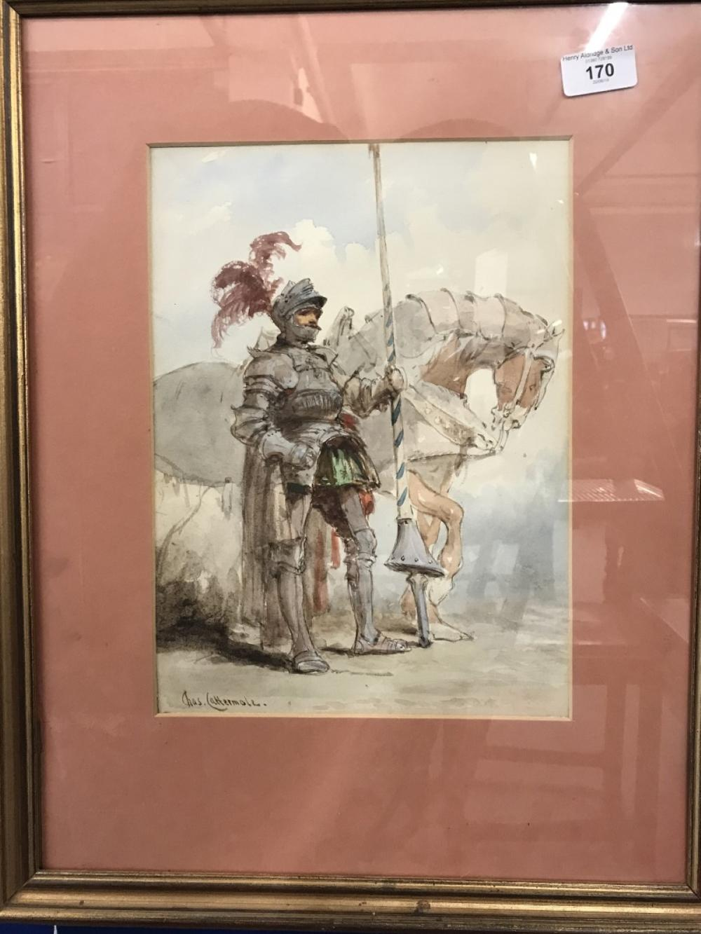 Charles Cattermole (1832 - 1900) Watercolour knight standing by his horse, signed lower left Chas Ca