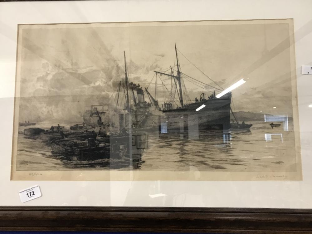 19th cent. Engraving W Wylie, Fishing Boats engraved by Edward Slocombe  Framed and glazed 21ins. x