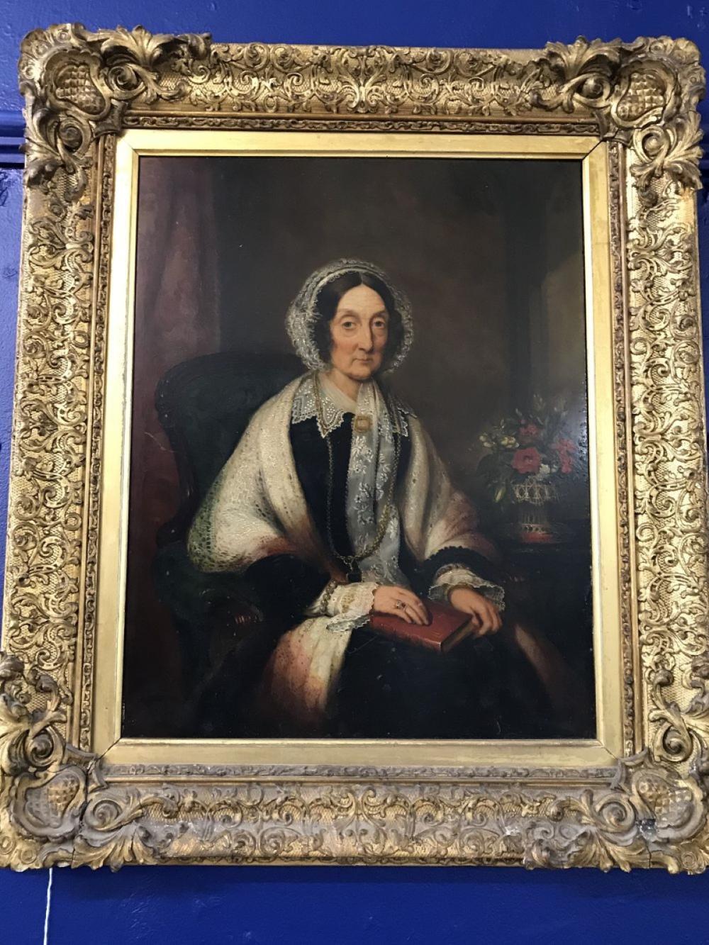 John Bridges: Oil on panel 'woman in black dress, lace bonnet and a shawl', signed Bridges 1853, R D